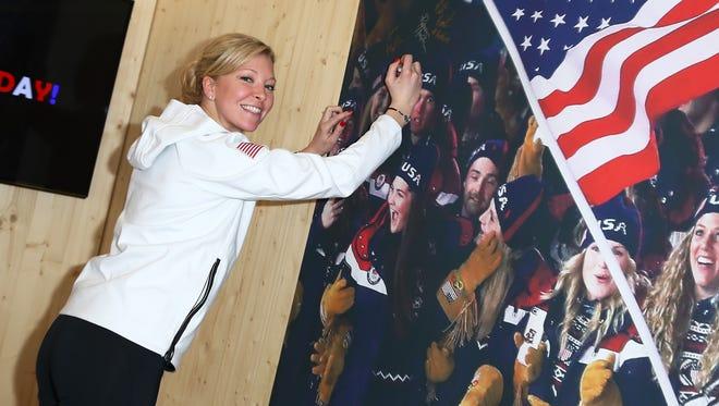 U.S. Olympian Nina Roth poses for a photo at the USA House in Pyeongchang-gun, South Korea.