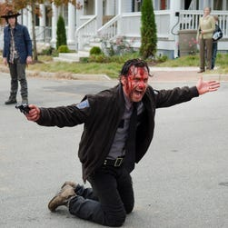 Rick Grimes (Andrew Lincoln) goes on a bloody, gun-waving rant at the end of last week's episode of the AMC television series 'The Walking Dead.'
