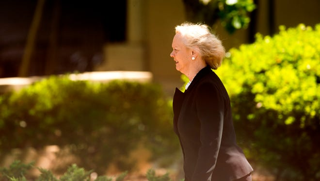 Hewlett-Packard CEO Meg Whitman arrives for a memorial service for SurveyMonkey CEO David Goldberg, Tuesday, May 5, 2015, in Stanford, Calif.