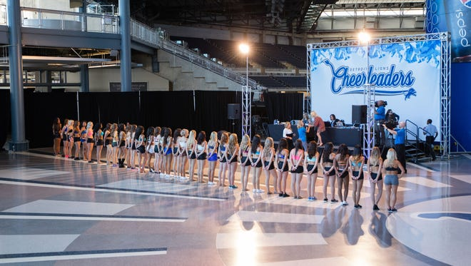 Lions cheerleaders during auditions at Ford Field.