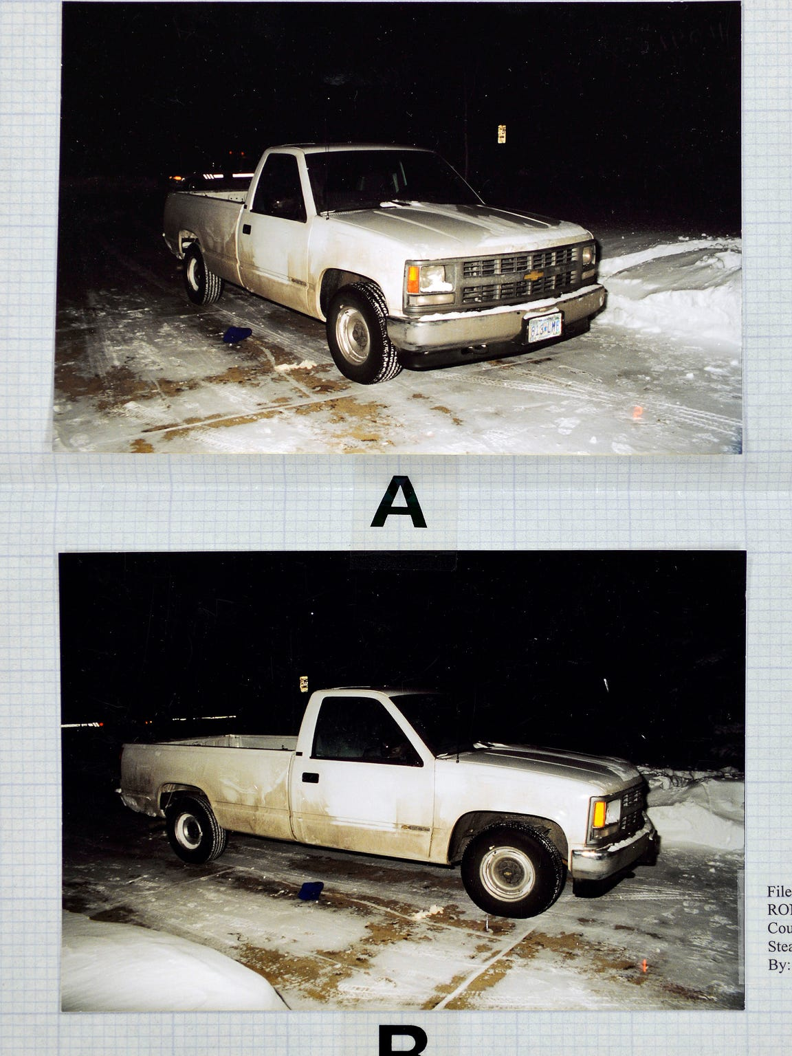 Evidence photos show the stolen white pickup used in