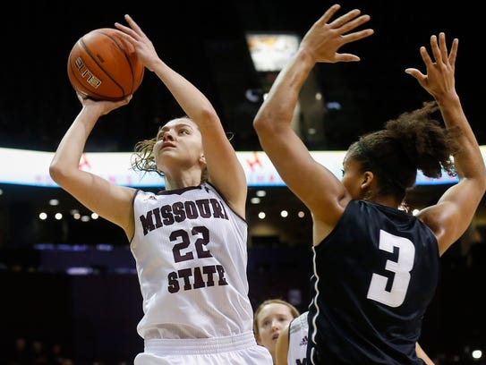Alexa Willard takes a shot during Missouri State University's