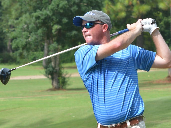 Todd Dubea tees off in the quarterfinal round of match play in the Deep South Four Ball tournament held Sunday, Aug. 31, 2014 at the Alexandria Golf and Country Club.-Melinda Martinez/mmartinez@thetowntalk.com