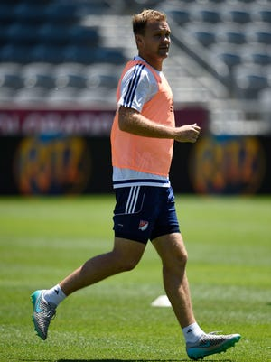 MLS All Star defender Chad Marshall of Seattle Sounders FC during training in advance of the 2015 MLS All Star Game.