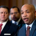 Assembly Speaker Carl Heastie, D-Bronx,  speaks during a news conference on paid family leave on Tuesday, Feb. 2, 2016, in Albany, N.Y. (AP Photo/Mike Groll)
