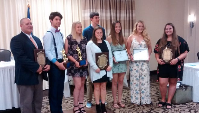 Elmira Kiwanis Club winners were honored June 7 at a ceremony at the Holiday Inn-Riverview in Elmira. From left, Mike Bennett, Mike Limoncelli, Alexis Wood, Izzy Milazzo, Nate Chorney, Haley Maggs, Bella Reese, Liz Warren. Not pictured: Dan Fedor.