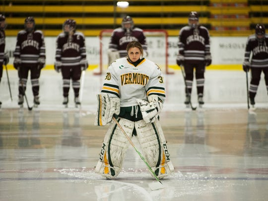 Catamounts goalie Madison Litchfield (30) stands on