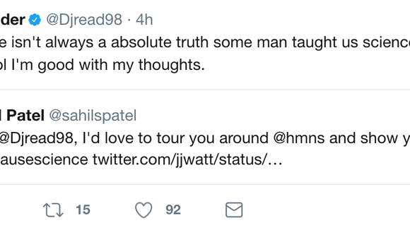 J.J. Watt lets everyone know Texans teammate D.J. Reader doesn't believe in dinosaurs