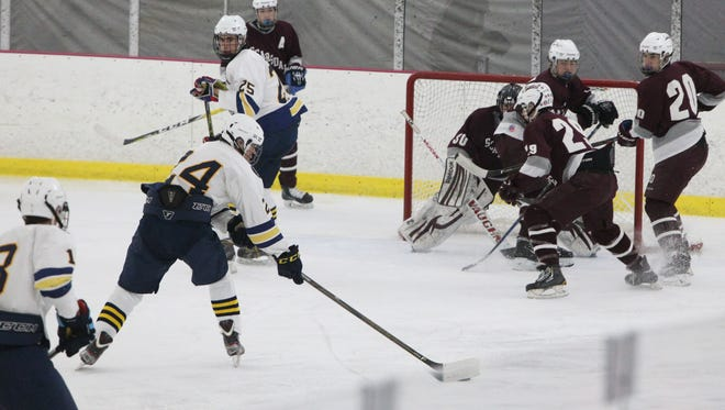 Pelham's Gibson Smith during a game with Scarsdale at the Ice Hutch Jan. 12, 2017.