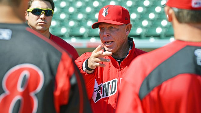 FILE - Indianapolis Indians Manager Dean Treanor discusses his rules regarding base running techniques to the newest members of the team during the first practice of the 2014 season on Tuesday, April 1 in Indianapolis. This is TreanorÕs fourth season with the Indians