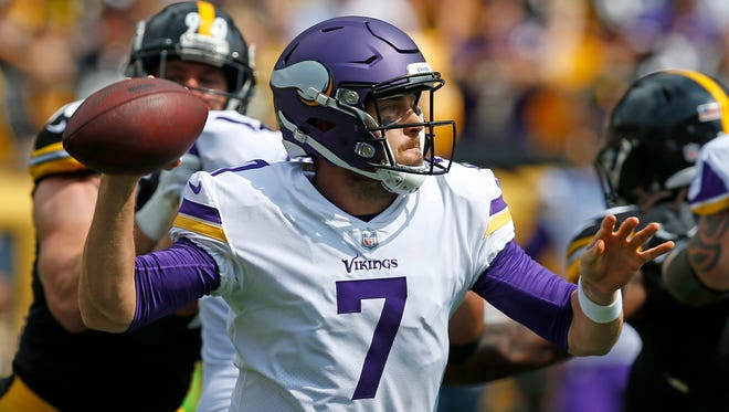 In this Sunday, Sept. 17, 2017, file photo, Minnesota Vikings quarterback Case Keenum (7) passes during the first half of an NFL football game against the Pittsburgh Steelers in Pittsburgh. Keenum was thrust into action in just his second game suiting up for the Vikings, following Sam Bradford's flare-up of knee soreness and swelling.