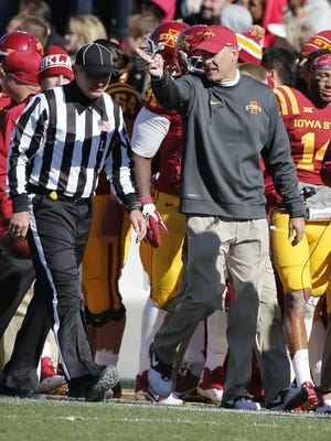 Head coach Paul Rhoads of the Iowa State Cyclones argues a call from the sidelines in the first half of play against the Oklahoma Sooners at Jack Trice Stadium on November 1, 2014 in Ames, Iowa. The Oklahoma Sooners defeated the Iowa State Cyclones 59-14.