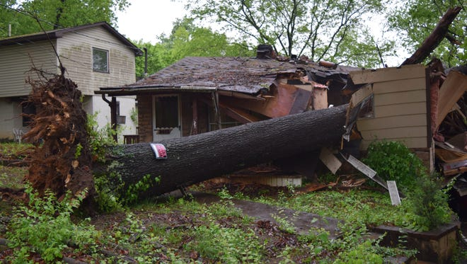 A tree fell into a bedroom of a West Knoxville home on Sunday. The only injuries appeared to be minor.