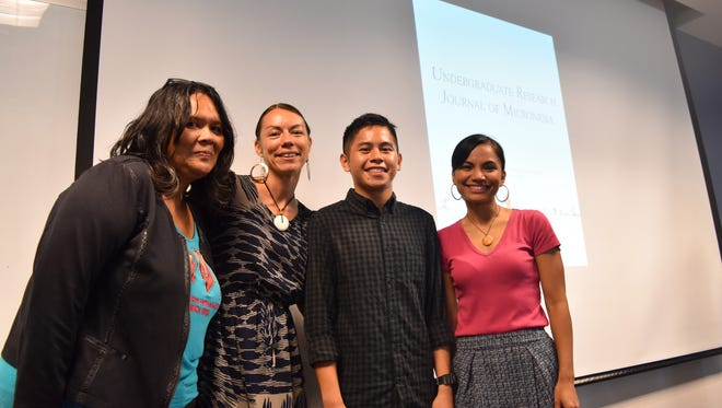 From left, UOG faculty review board member Terry Perez; Victoria-Lola M. Leon Guerrero, UOG Press managing editor; Archie Matta Jr.; and Kisha Borja-Quichocho-Calvo, are shown at the University of Guam on May 4, 2017. UOG Press and MARC launched the Undergraduate Research Journal of Micronesia. Matta is one of the authors featured in the journal.
