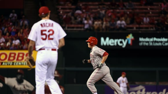 Reds right fielder Steve Selsky rounds the bases after hitting a solo home run off of Cardinals relief pitcher Michael Wacha during the second inning of Monday's 15-2 Reds win.