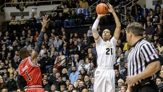 Purdue guard Kendall Stephens (21) made 6 of 6 from 3-point range while scoring 18 first-half points in the Boilermakers' 87-46 victory over Arkansas State.