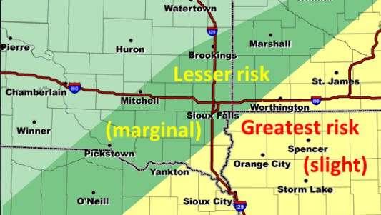 Chance of severe storms on Tuesday in the southeast South Dakota area.