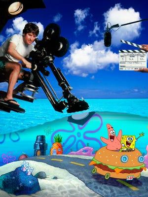 Stephen Hillenburg directs Patrick and SpongeBob in a 'The SpongeBob SquarePants Movie' in November 2004.