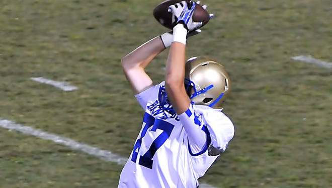 Brentwood's Christian LeBreche has tallied 492 yards receiving and 8 touchdowns this season.