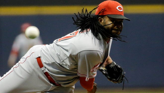 Reds starting pitcher Johnny Cueto delivers during the first inning Wednesday night in Milwaukee.