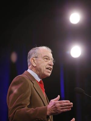 Sen. Chuck Grassley speaks at the Iowa Freedom Summit Jan. 24 in Des Moines.