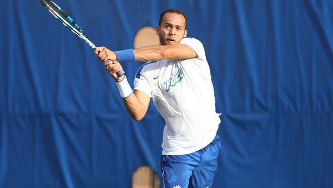 Andres Alfonzo plays on Court 6 during the Florida Gulf Coast Eagles' match against the Florida Gators in round one of the NCAA Tournament on Friday, May 12, 2017 at Linder Stadium at Ring Tennis Complex in Gainesville, Fla.