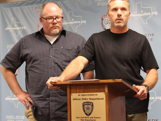 Abilene Police Chief Stan Standridge, right, speaks during a media conference Sunday evening at which he announced the traffic death of APD Detective Elise Ybarra. Two other APD detectives were injured in a two-vehicle crash on Interstate 20 just east of Abilene.