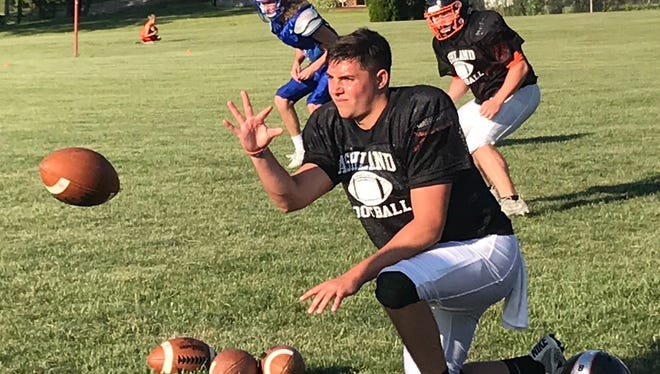 Ashland's first team All-Ohioan Keagan Armitage snaps the ball to fellow quarterback Wyatt Smith of Wynford during a North practice drill at Shelby High School.
