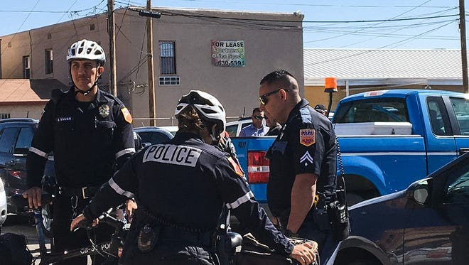 A man accused of stealing a blue El Paso Water pickup was arrested Monday in a parking lot in the 400 block of West Overland Avenue in Union Plaza.