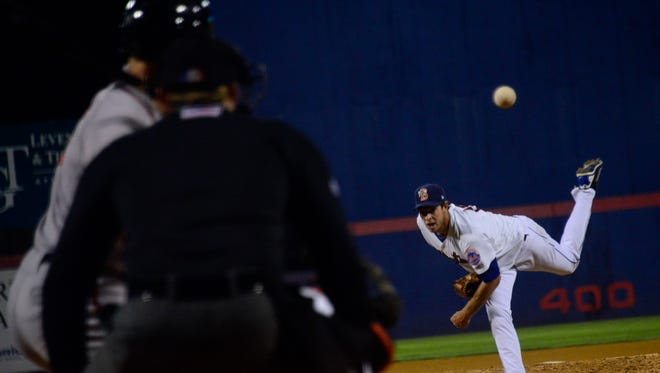 Binghamton's Steven Matz strikes out Richmond's Devin Harris in the top of the seventh during the third game in the Eastern League Championship Game at NYSEG Stadium. Matz had nine strikeouts and took a no-hitter into the eighth inning.