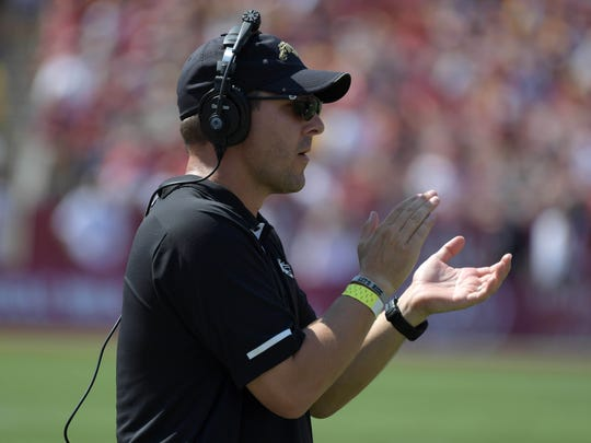 Western Michigan Broncos head coach Tim Lester reacts during a NCAA football game against the Southern California Trojans at Los Angeles Memorial Coliseum.