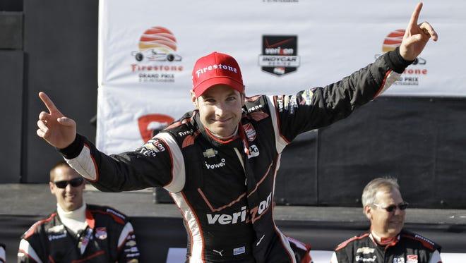 Will Power celebrates after winning the Firestone Grand Prix of St. Petersburg on Sunday.