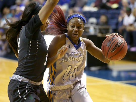 Angelo State guard Taylor Dorsey earned All-American honors during the 2016-17 season, along with forward Jasmine Prophet.