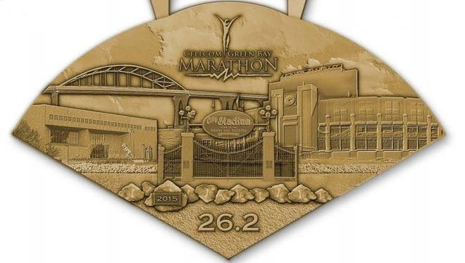 2015 Cellcom Green Bay Marathon finisher's medal.