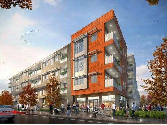 A rendering of Home Leasing's housing proposal for