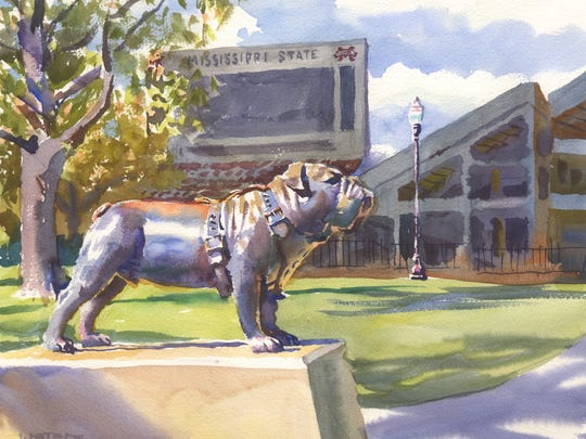 "Watercolorist Wyatt Waters painted this scene from the Mississippi State University campus while in Starkville with restaurateur Robert St. John. The painting is included in their new book, ""A Mississippi Palate."""