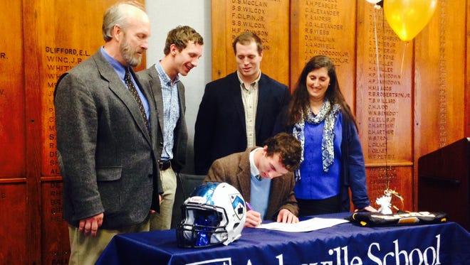 Asheville School senior David Schill will play his college football for Centre (Ky.).