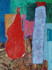 Susan Lisbin's abstract painting highlights the color red at Emerge Gallery & Art Space.