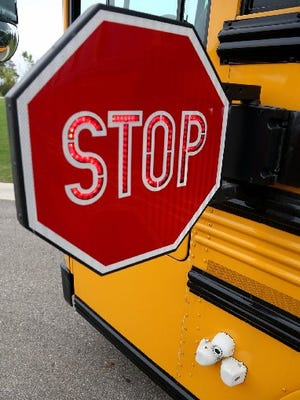 A school bus is seen in this Detroit Free Press photo.