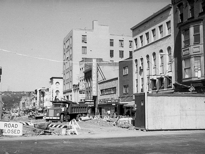 The Ithaca Commons during its construction in 1974