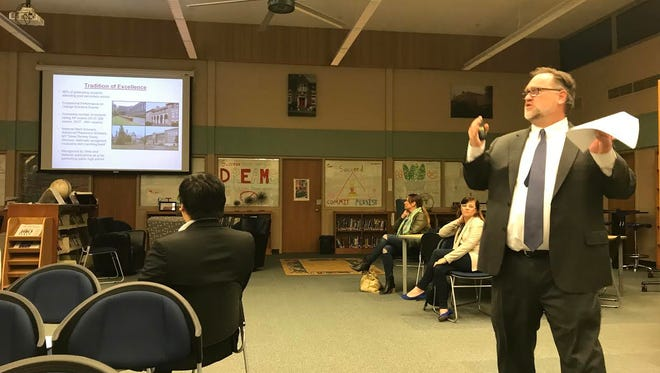 Glen Ridge Schools Superintendent Dirk Phillips does a presentation on the school district's 2017-2018 budget at the BOE meeting on Monday.