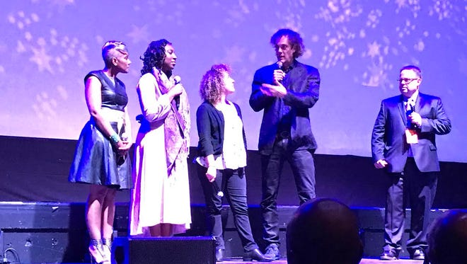 """The cast and crew of the documentary """"Step"""" appear onstage during the opening night of the Montclair Film Festival on Friday."""