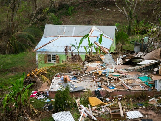 Hurricane Maria destroyed homes along the hillside