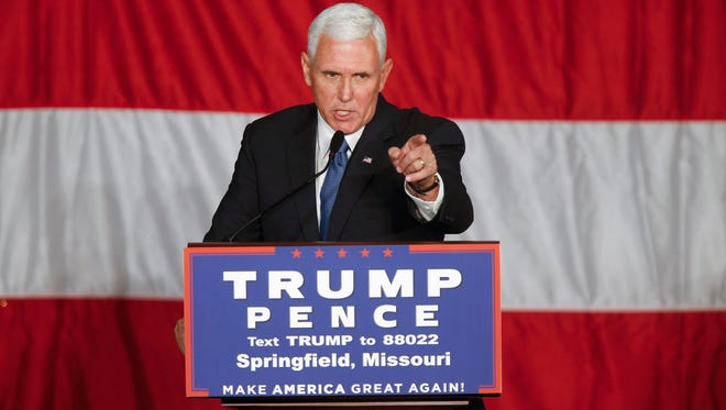 Republican Vice Presidential Candidate Mike Pence speaks during a town hall meeting at the Springfield Exposition Center in Springfield, MO on Tuesday, September 6, 2016.