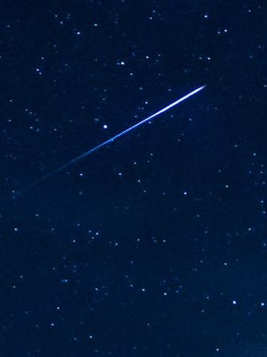 This stray meteor was pictured at the peak of the Perseid Meteor Shower, Aug. 12, 2016. This cropped image was taken by Jacek Halicki.