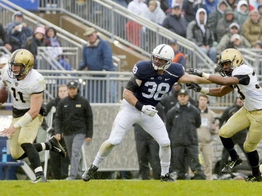 Penn State linebacker and Dallastown grad Ben Kline (38) played his first snaps in nearly two years against Army. He's one example of how a thinning linebacking corps has altered the entire Penn State defense for the rest of the season.