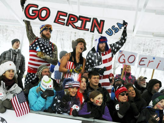 American fans crowd the finish line during Saturday's luge World Cup at the Olympic Sports Complex in Lake Placid, N.Y. American Erin Hamlin finished second, while York County native Summer Britcher posted a career-best sixth-place finish.