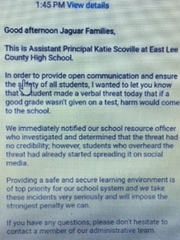 A verbal threat at East Lee County High School was