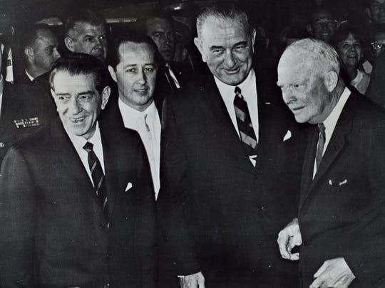 Mexico's President Adolfo López Mateos, unidentified male, President Lyndon B. Johnson and President Dwight D. Eisenhower.