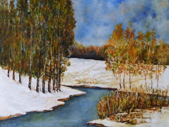 """Fall Snow Scene,"" a newer work by Alberto Escamilla. Since having nerve damage several years ago, the El Paso Art Hall of Famer paints more slowly and on smaller canvases."